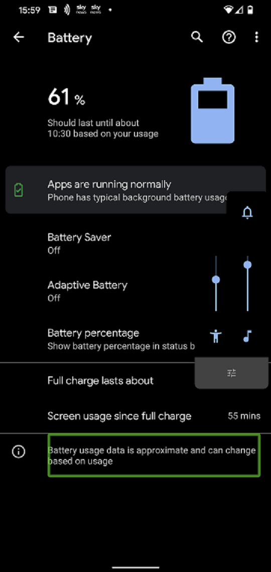 Picture of the android setting screen.